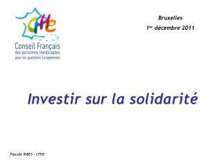 Investir sur la solidarité