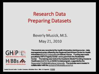 Preparing Research Datasets