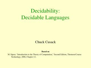 Decidability: Decidable Languages