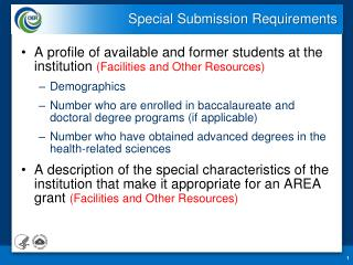 Special Submission Requirements