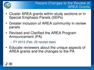 Recent Changes to the Review of  AREA Grants