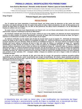 FRENULO LINGUAL: MODIFICAÇÕES PÓS-FRENECTOMIA