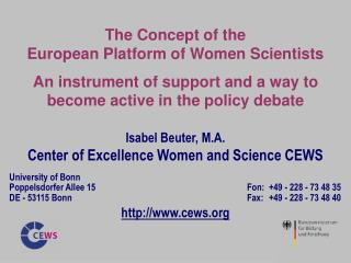 The Concept of the  European Platform of Women Scientists