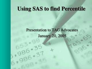 Using SAS to find Percentile