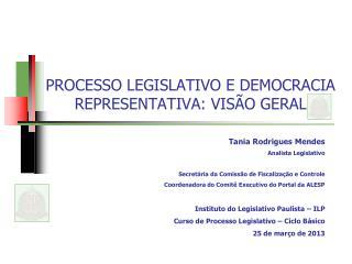 PROCESSO LEGISLATIVO E DEMOCRACIA REPRESENTATIVA: VIS�O GERAL