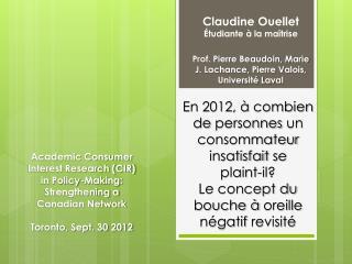 Claudine Ouellet  Étudiante à la maîtrise