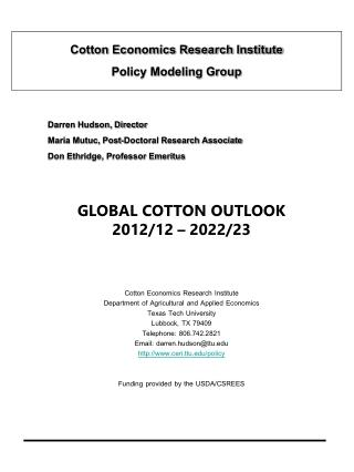Cotton Economics Research Institute  Policy Modeling Group
