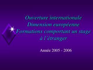 Ouverture internationale Dimension européenne Formations comportant un stage à l'étranger