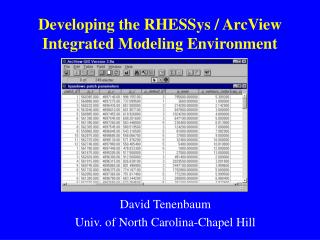Developing the RHESSys / ArcView Integrated Modeling Environment