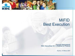 MiFID Best Execution