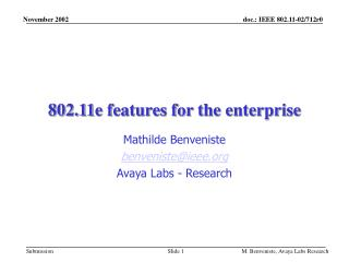 802.11e features for the enterprise