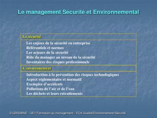 Le management Sécurité et Environnemental