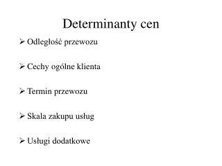 Determinanty cen