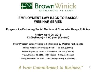EMPLOYMENT LAW BACK TO BASICS WEBINAR SERIES