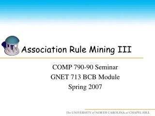 Association Rule Mining III