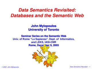 Data Semantics Revisited: Databases and the Semantic Web