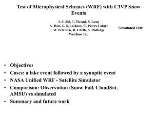 Objectives Cases: a lake event followed by a synoptic event NASA Unified WRF - Satellite Simulator