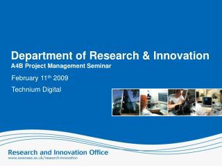 Department of Research & Innovation  A4B Project Management Seminar