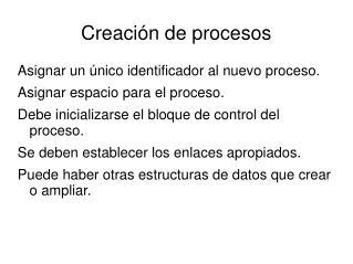 Creación de procesos