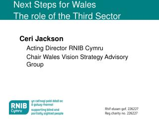 Next Steps for Wales The role of the Third Sector