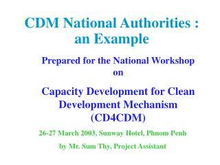 CDM National Authorities : an Example