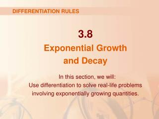 3.8 Exponential Growth  and Decay