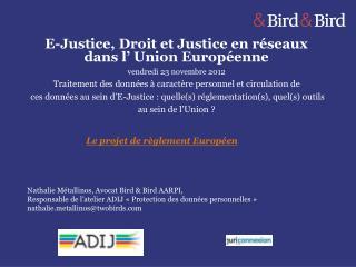 E-Justice, Droit et Justice en réseaux dans l' Union Européenne vendredi 23 novembre 2012