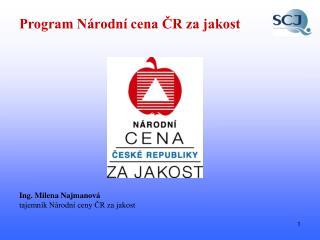 Program Národní cena ČR za jakost
