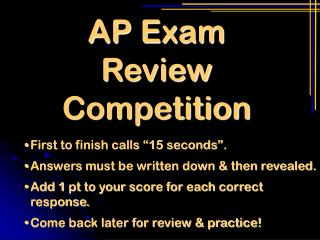 AP Exam Review Competition