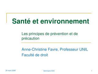 Sant� et environnement