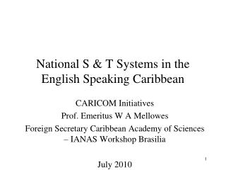 National S & T Systems in the English Speaking Caribbean