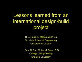 Lessons learned from an international design-build project