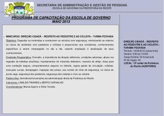 SECRETARIA DE ADMINISTRAÇÃO E GESTÃO DE PESSOAS ESCOLA DE GOVERNO DA PREFEITURA DO RECIFE