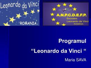 """Programul  """"Leonardo da Vinci """" Maria SAVA"""