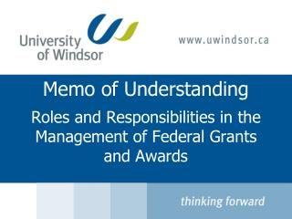 Memo of Understanding Roles and Responsibilities in the Management of Federal Grants and Awards