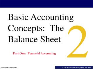 Basic Accounting Concepts:  The Balance Sheet