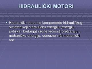 HIDRAULIČKI MOTORI