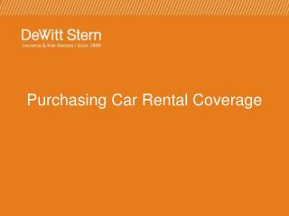 Purchasing Car Rental Coverage