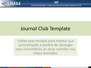 Journal Club Template