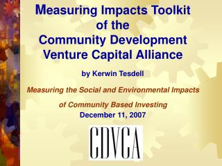 Community Development Venture Capital