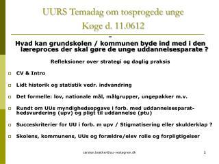 UURS Temadag om tosprogede unge  Køge d. 11.0612