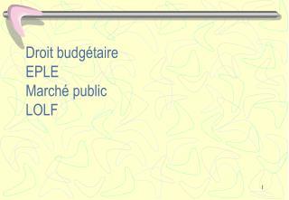 Droit budgétaire EPLE Marché public LOLF