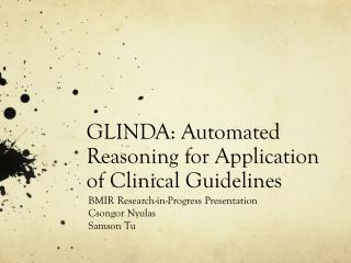 GLINDA: Automated Reasoning for Application of Clinical Guidelines