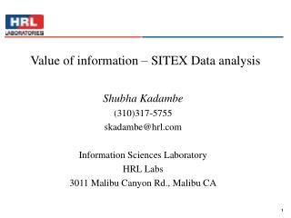 Value of information – SITEX Data analysis