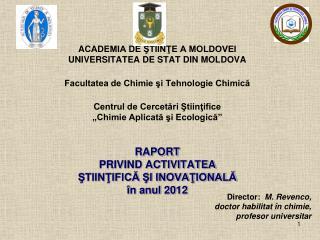 """Structura Centrului de Cercetări Ştiinţifice  """"Chimie Aplicată şi Ecologică"""""""