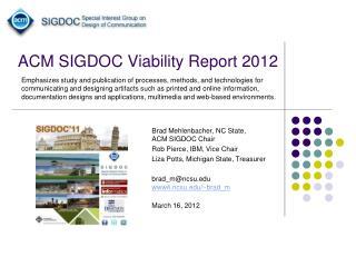 ACM SIGDOC Viability Report 2012