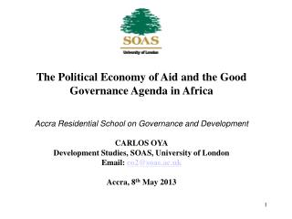 The Political Economy of Aid and the Good Governance Agenda in Africa