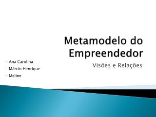 Metamodelo do Empreendedor