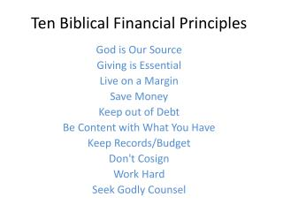 Ten Biblical Financial Principles