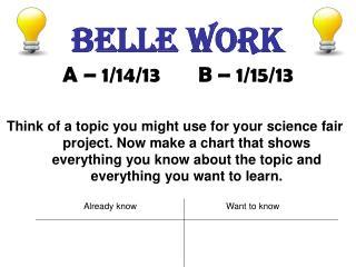 Belle work A – 1/14/13       B – 1/15/13